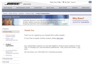 bose MIE2 headphone serial number and registration